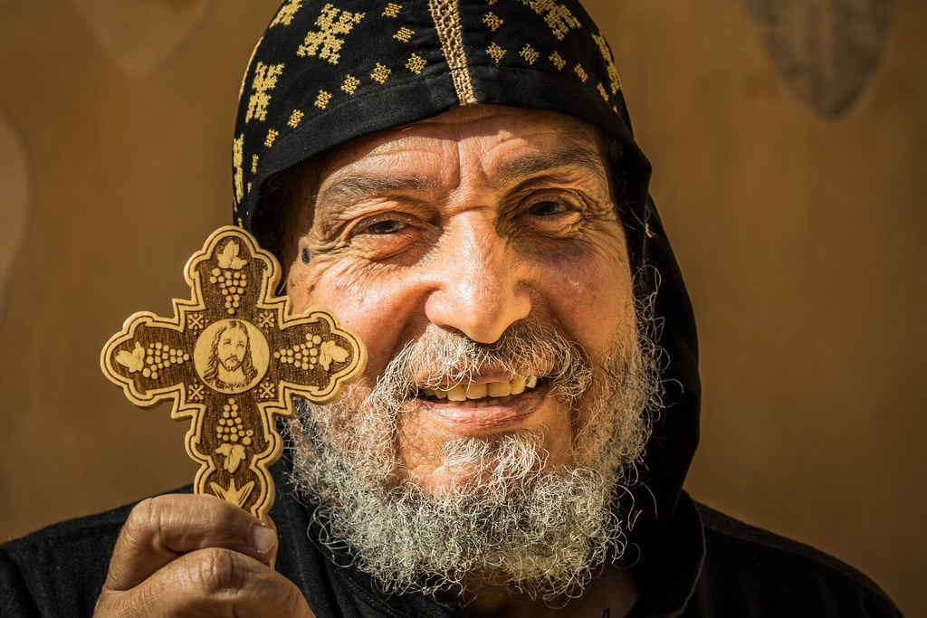 A picture of a coptic monk, you can cut your accommodation bill right down by staying in monasteries!