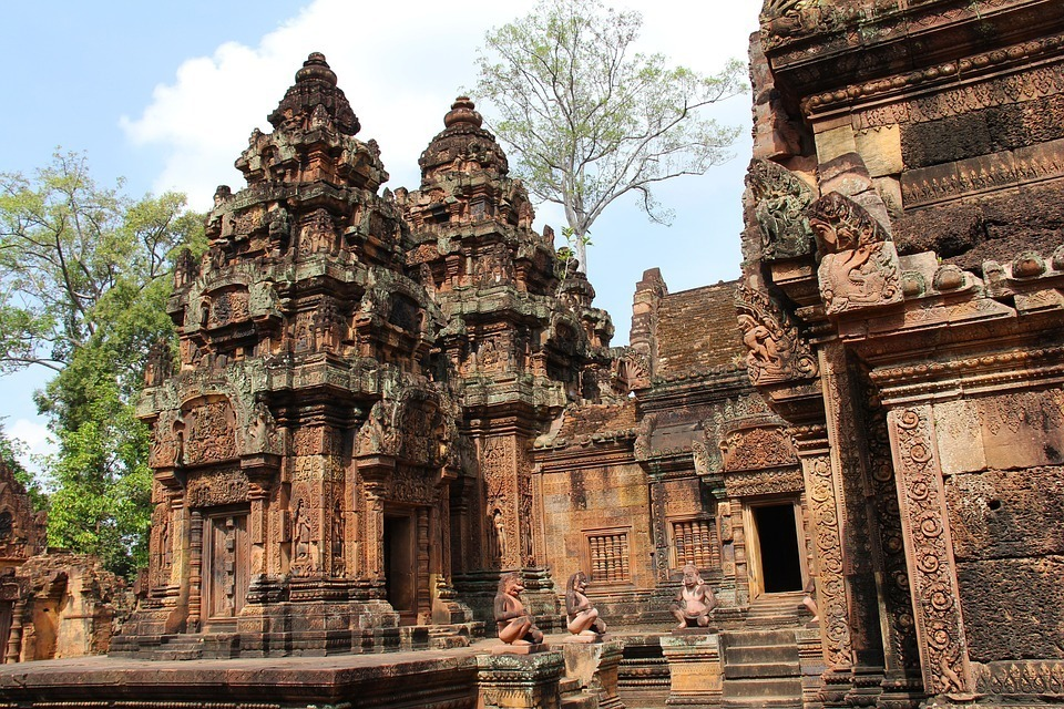 This is an image of a Cambodia Temple, the sort of thing you can see if you earn while you see the world.