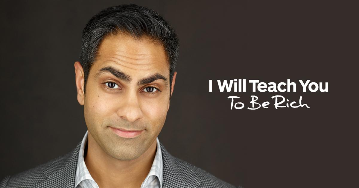 """A headshot of Ramit Sethi next to the words """"I will teach you to be rich"""""""