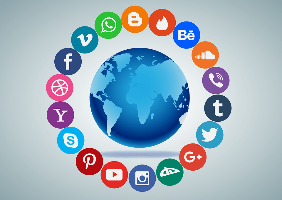 Social media icons that allude to the fact that social media can get in the way of being able to make money.