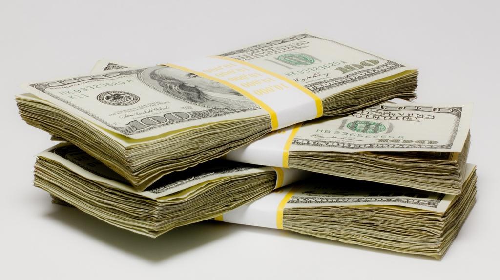 A big wad of dollar bills!