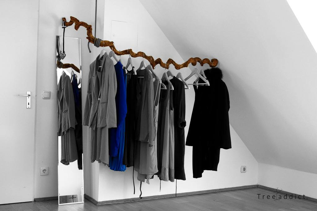 Clothes in a wardrobe. Minimalism at its finest.